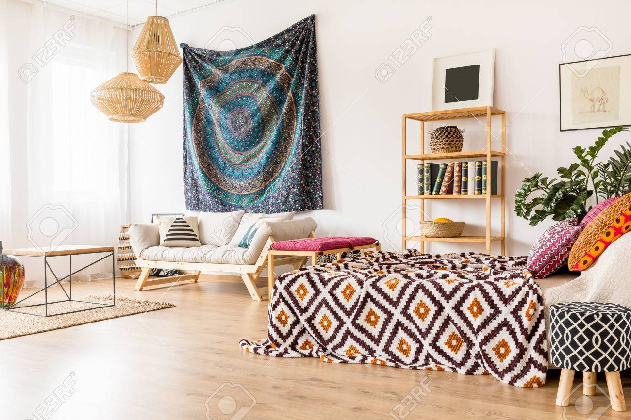 Merveilleux Stock Photo   Studio Interior In Ethnic Style With Simple Wooden Furniture