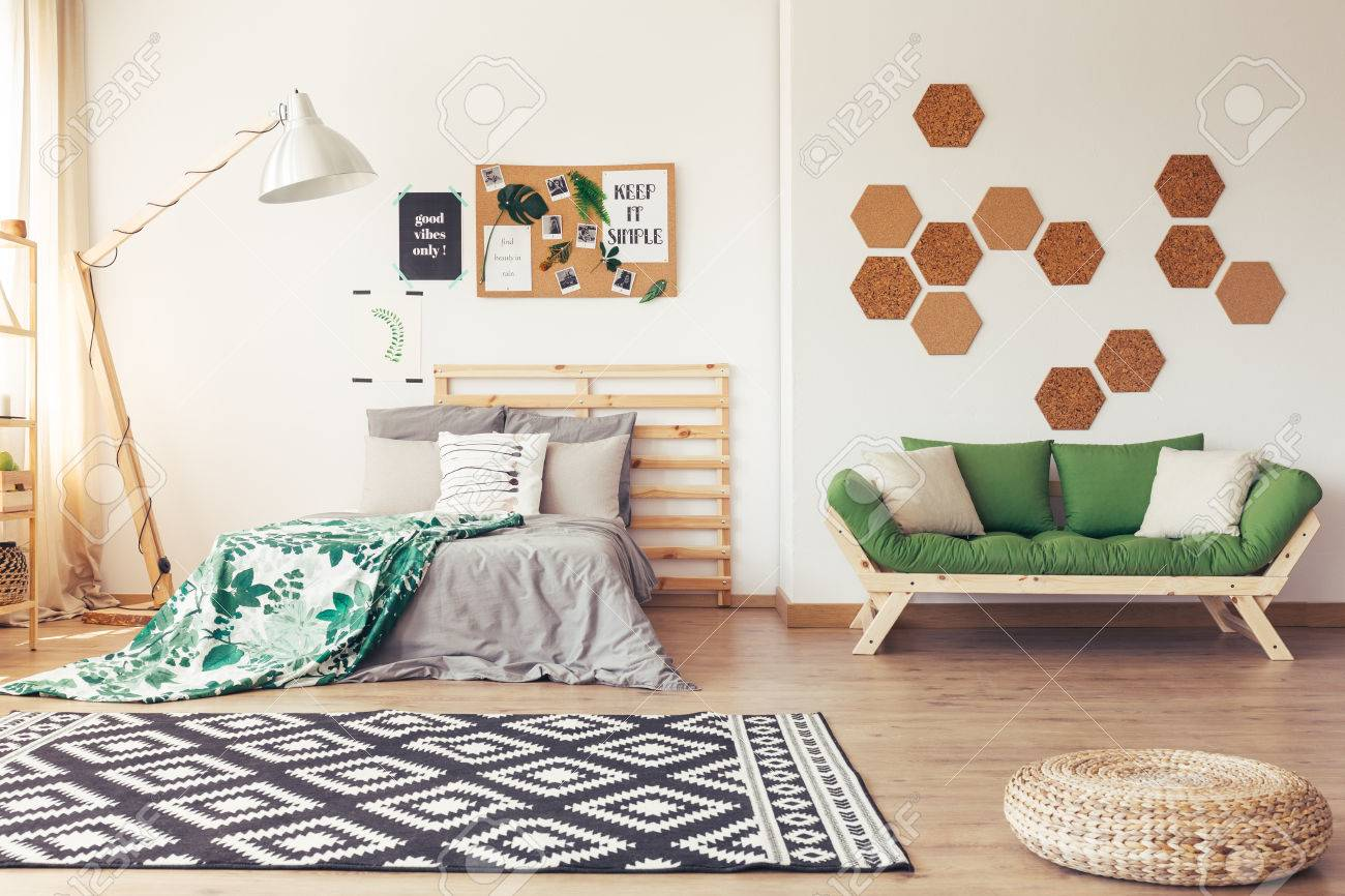 Wooden And Botanic Decor Of Cozy Bedroom Interior With Tropical ...