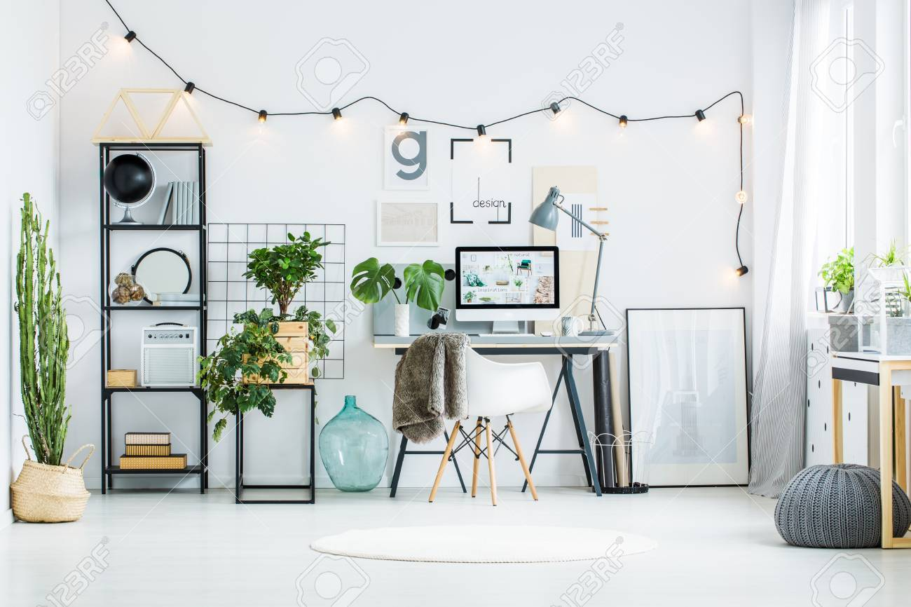 office flower pots. Big Cacti On An Ecological Flower Pot In White Room With Line Of Light Bulbs Office Pots N