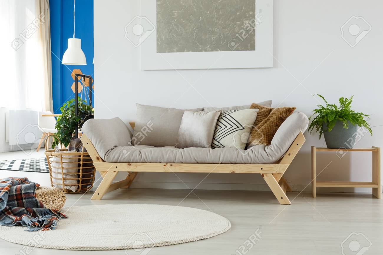 Gemütliches Gemütliches Sofa Teppich Gemälde Kissen Pflanzen Und