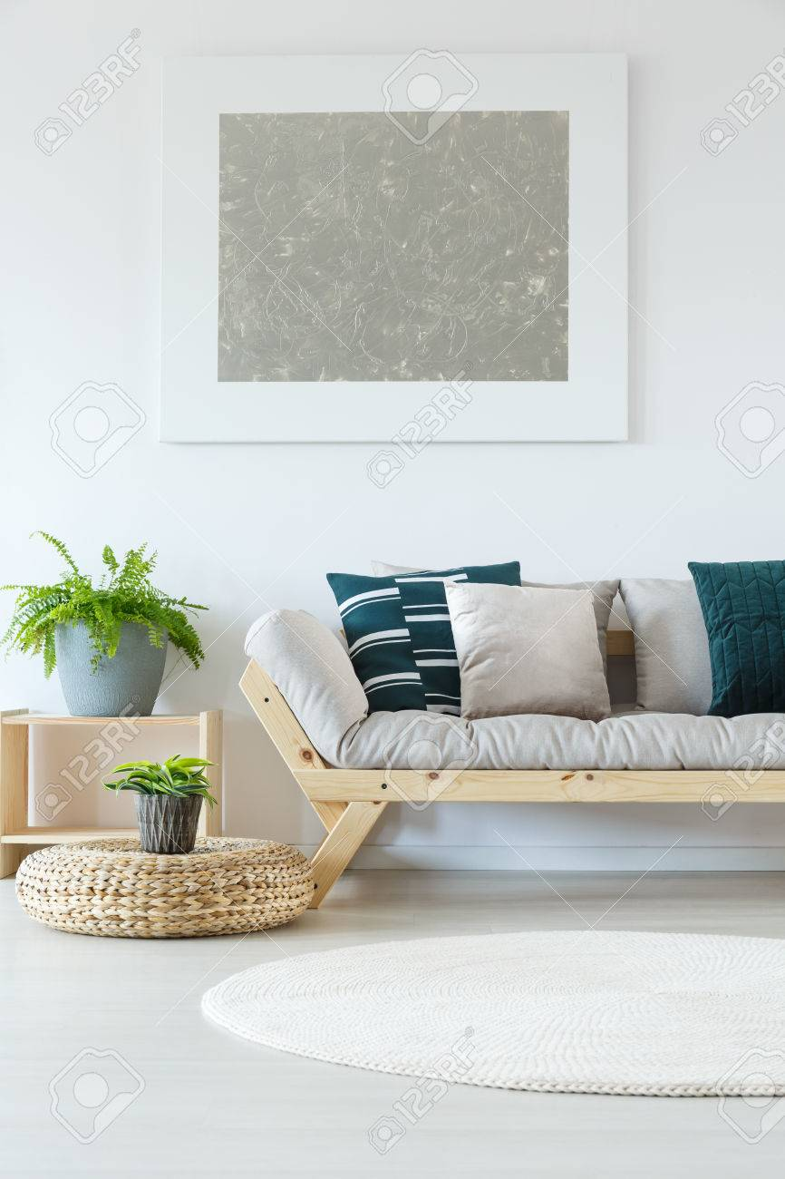 Natural Minimalist Home Decor With White Wall, Mock Up Painting, Plants,  Wooden