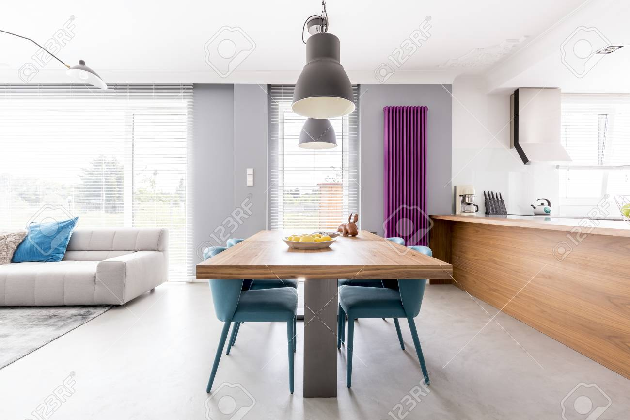 Open Plan Apartment Of Family Living-space With Wooden Kitchen ...