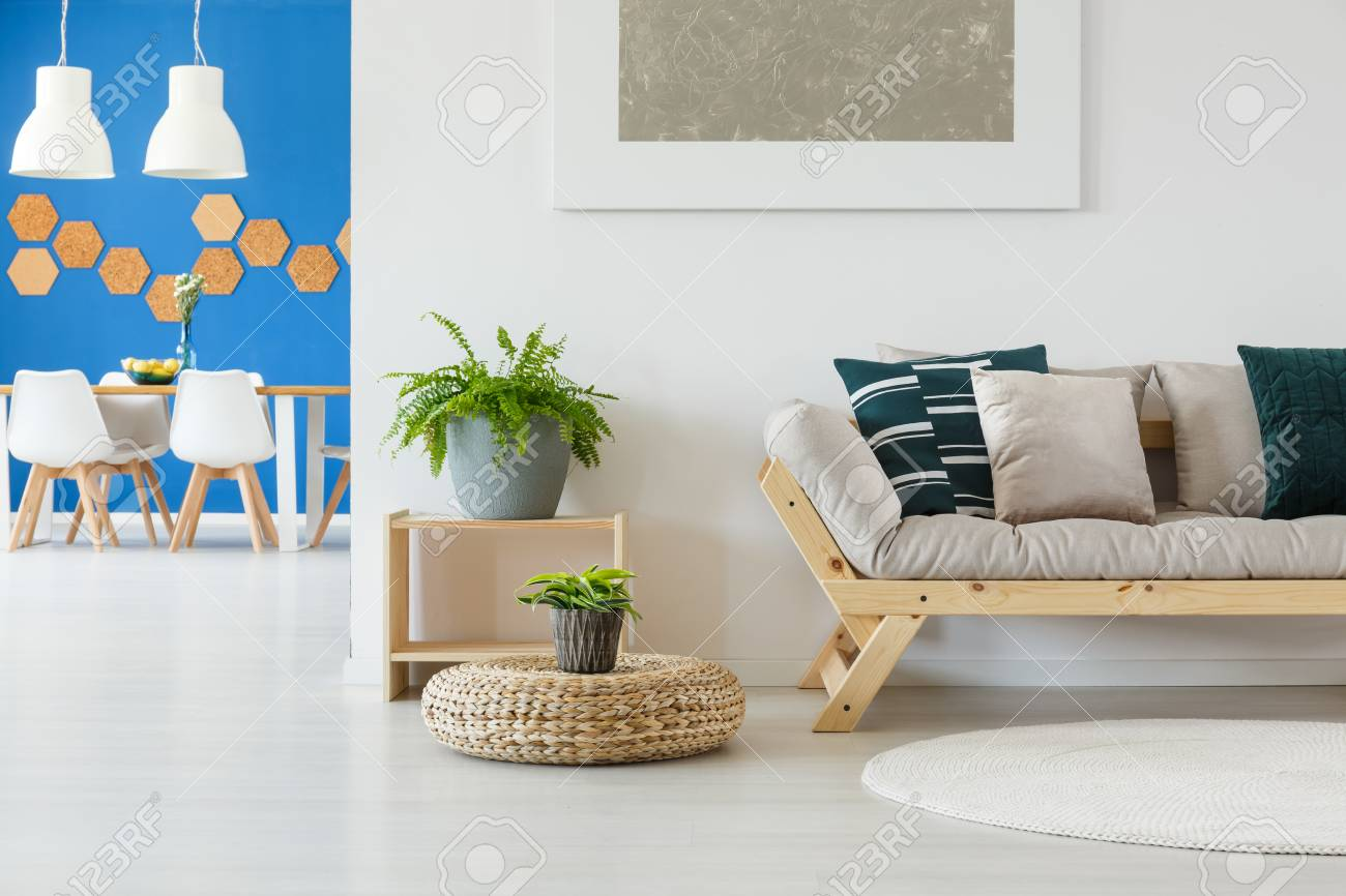 Contemporary Bright Living Room In White And Blue Decor With.. Stock ...