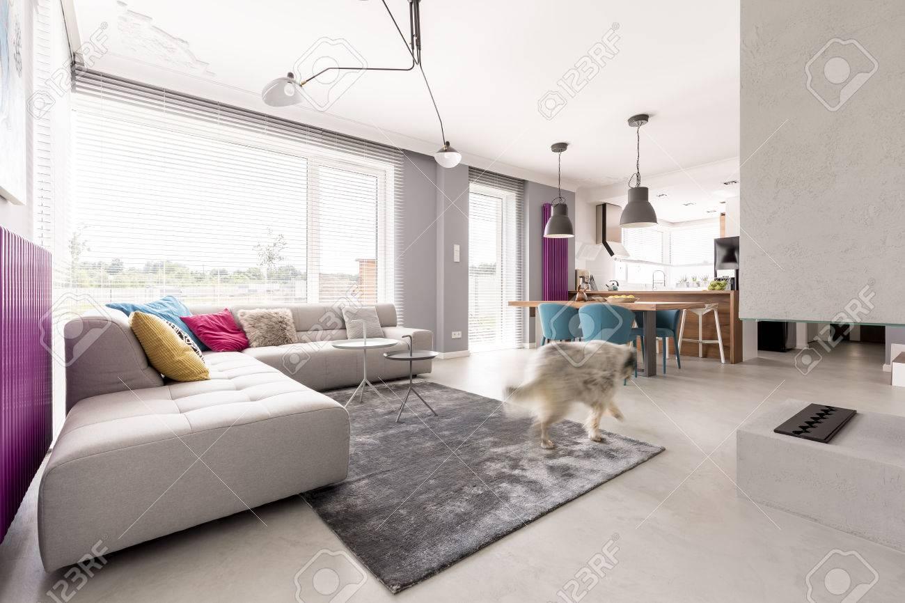 Salon intérieur spacieux et moderne avec cheminée en béton, grand canapé  confortable, coin repas et cuisine