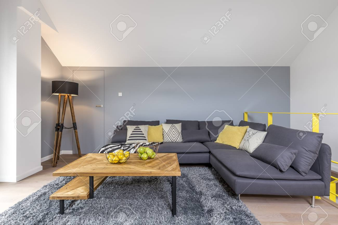 Stylish living room with gray corner sofa, lamp, fluffy rug and..