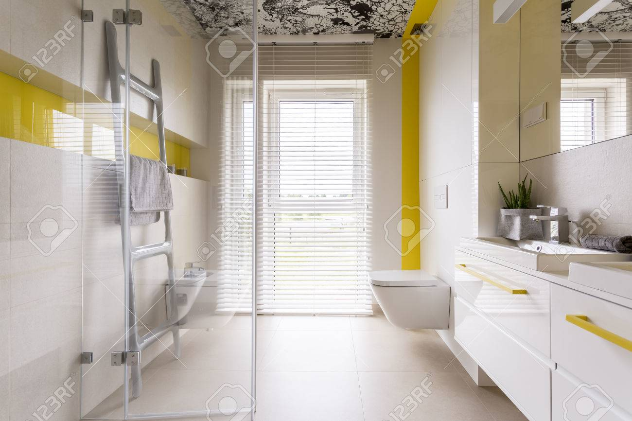 Luxury Stylish Bathroom With White Cabinets, Mirror, Ladder Tower ...