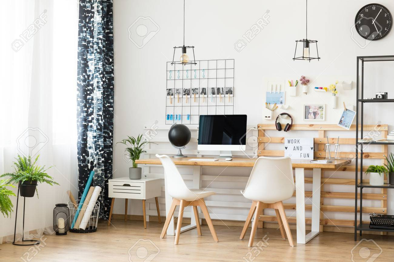 Modern, Minimalistic Office With Personal Photos On The Wall.. Stock ...