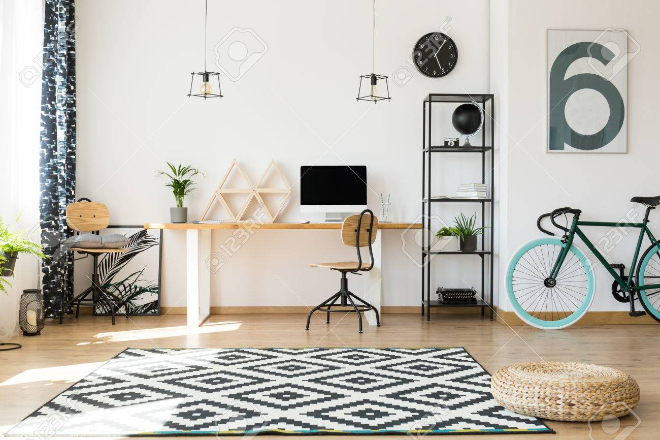 Office natural light Open Ceiling Empty Office With Big Window And Natural Light In Modern Apartment Building Stock Photo 83779651 123rfcom Empty Office With Big Window And Natural Light In Modern Apartment