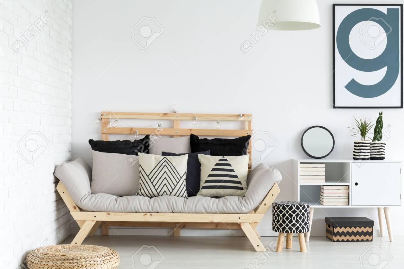 Modern Stylish Scandinavian Living Room Design Stock Photo, Picture ...