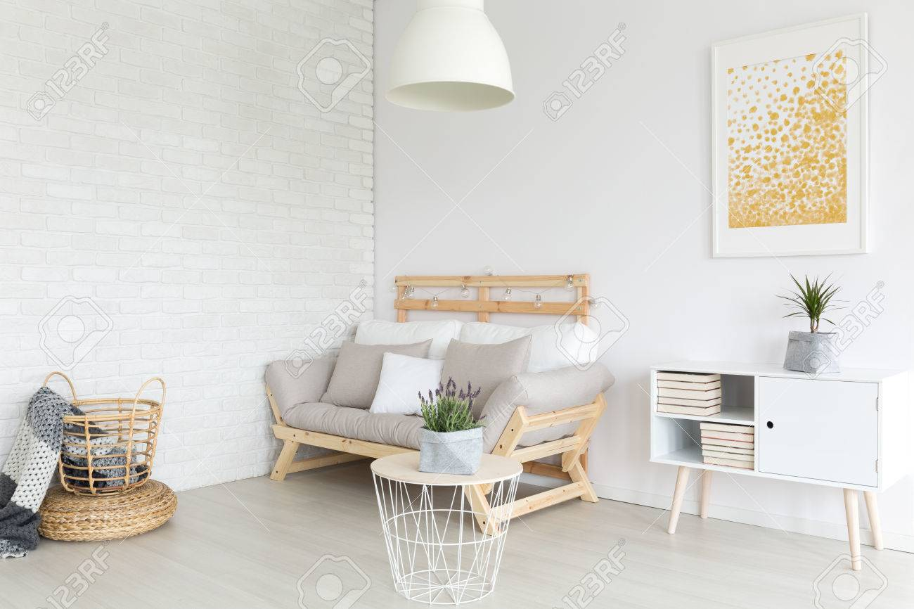 Simple Lagom Living Room In White Minimalist Apartment