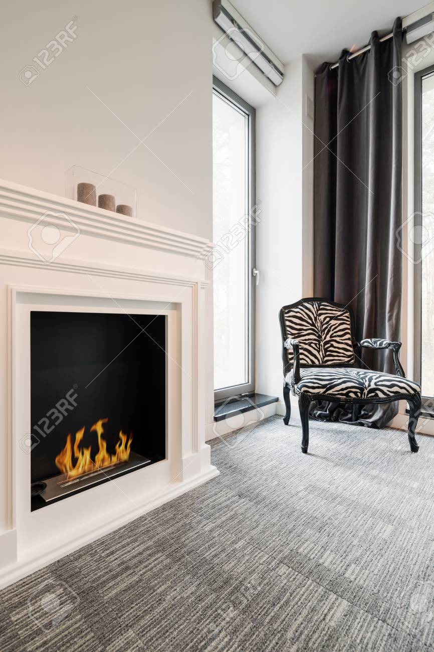 Cropped Shot Of A Minimalistic Interior With A Digital Fireplace