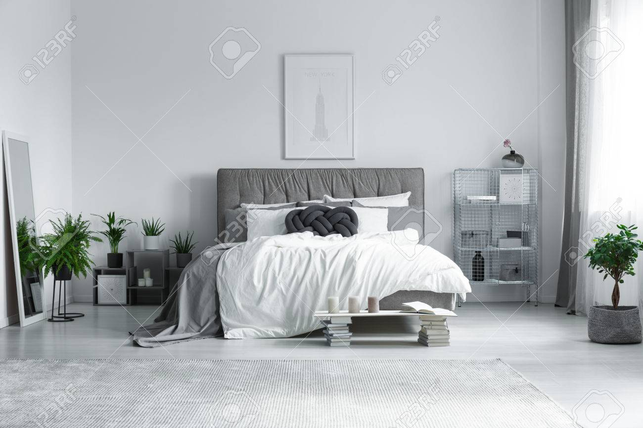 Big Grey Carpet On The Floor In Modern Bright Bedroom Stock Photo ...