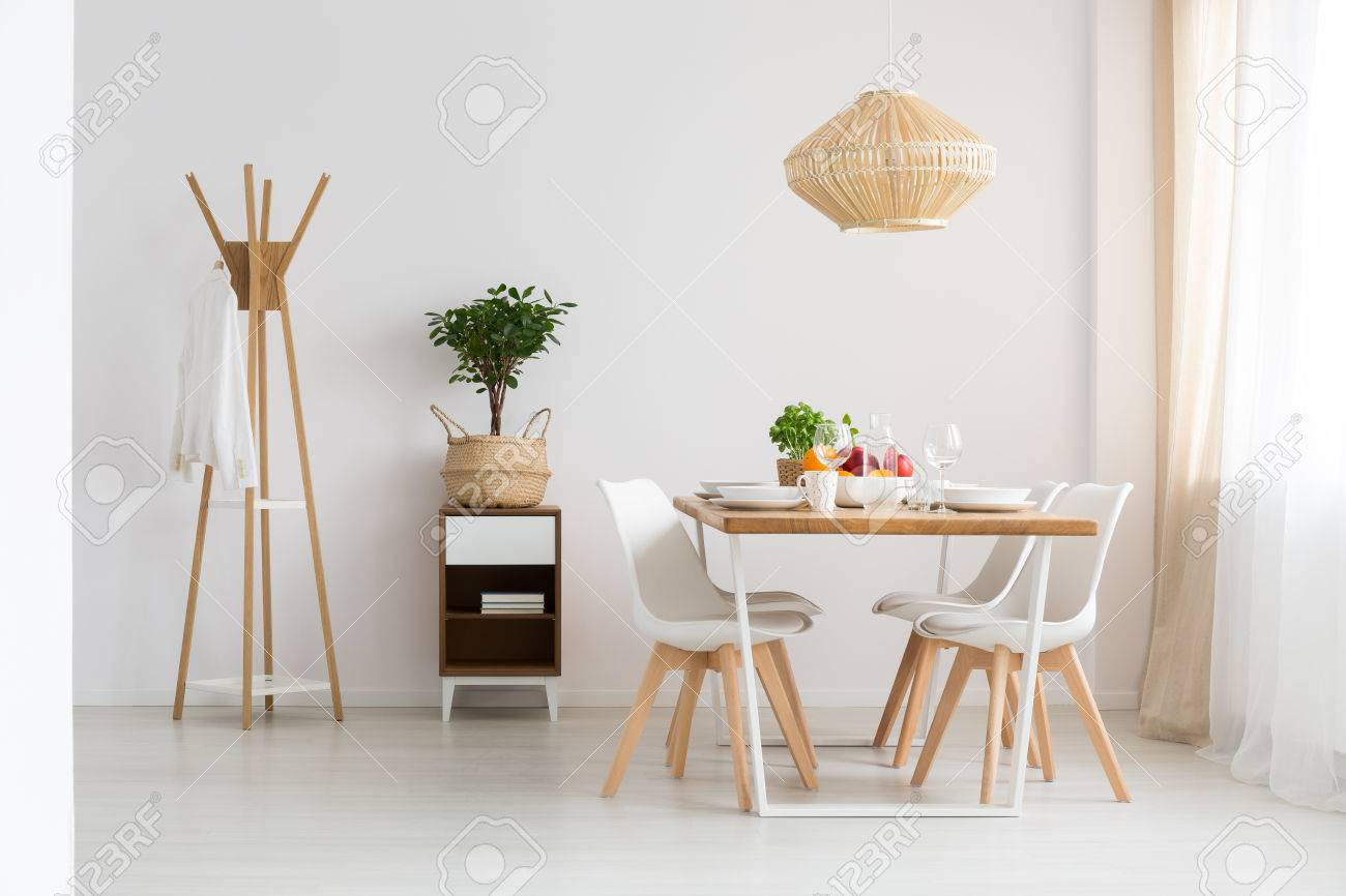 Simple Stylish Scandinavian Dining Room In Minimalist White Apartment