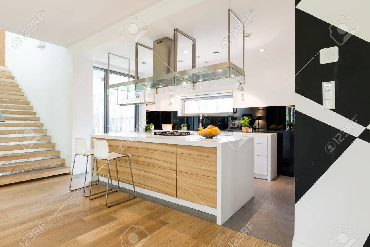 Shot Of An Open Kitchen Room Interior With A Kitchen Island And
