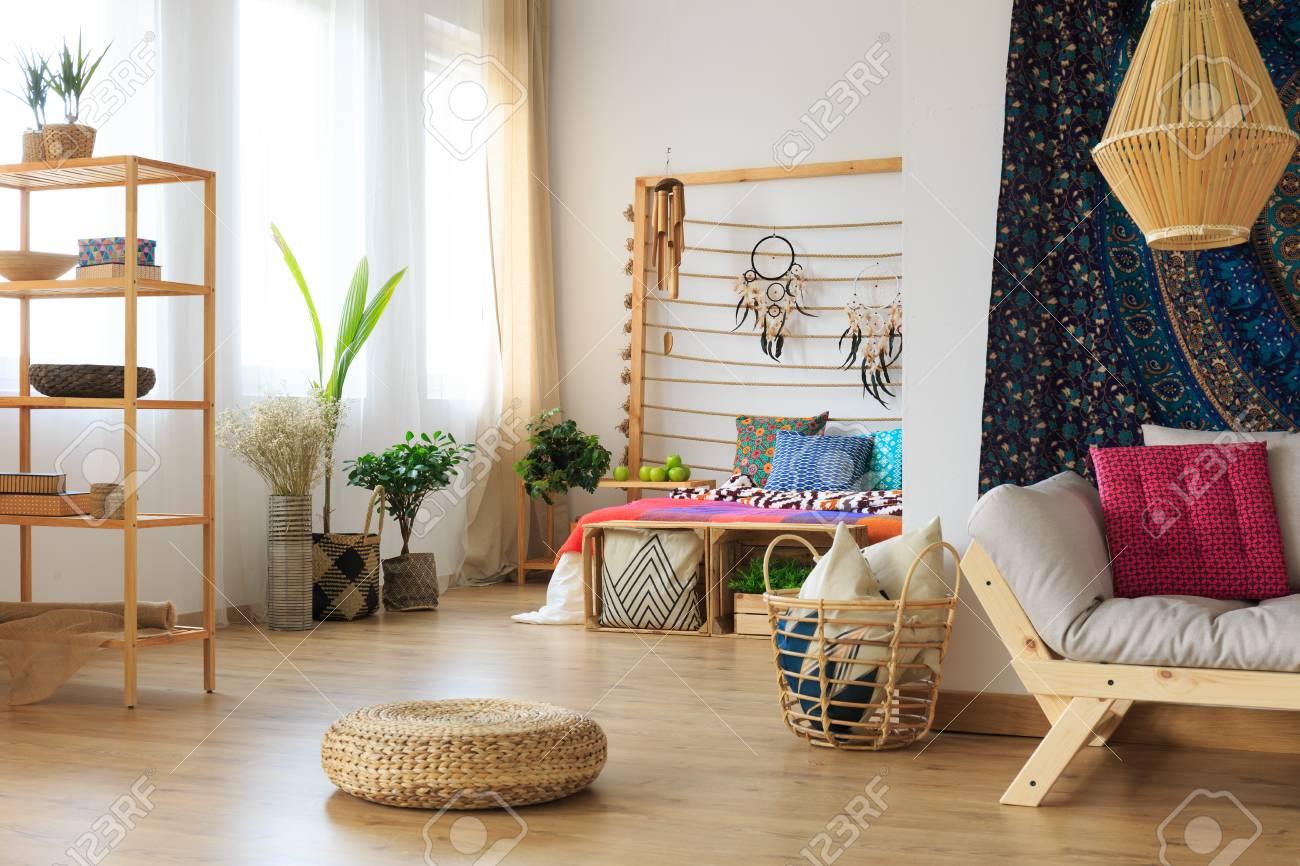 Ethereal Ethnic Multicolor Roomy Apartment Interior Design Stock