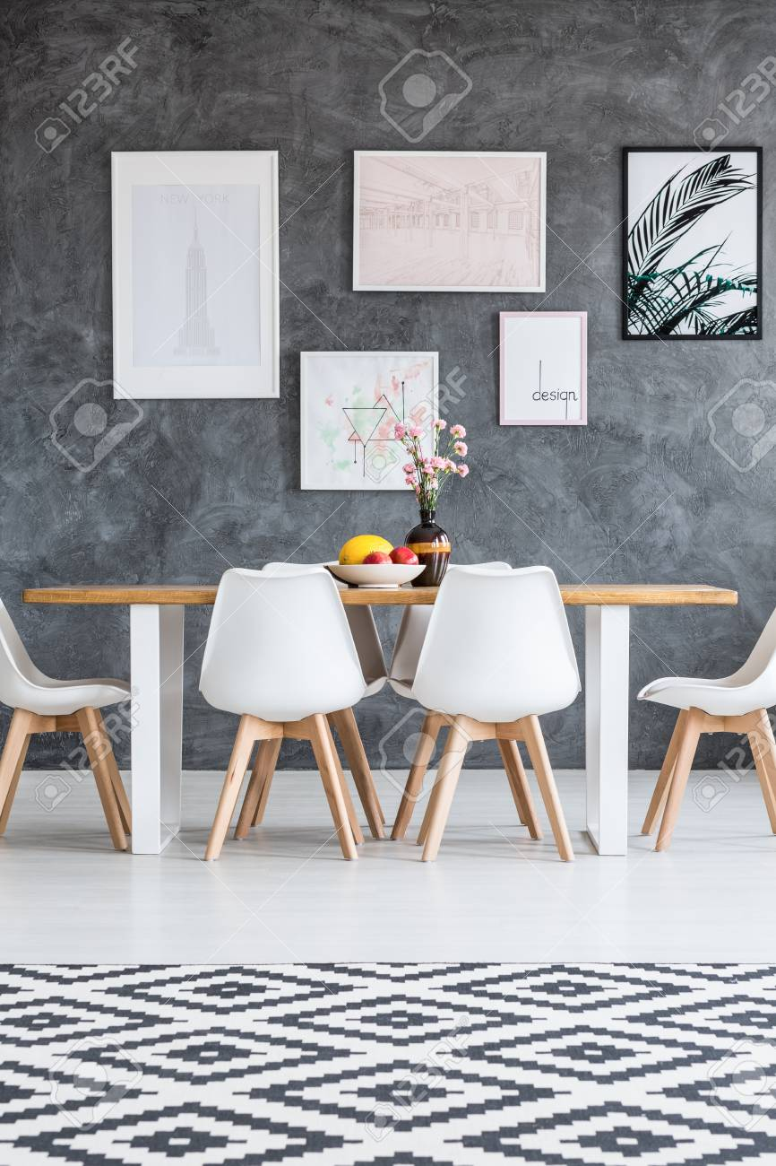 Incredible Black And White Checkered Carpet On White Floor In Dining Room Ibusinesslaw Wood Chair Design Ideas Ibusinesslaworg