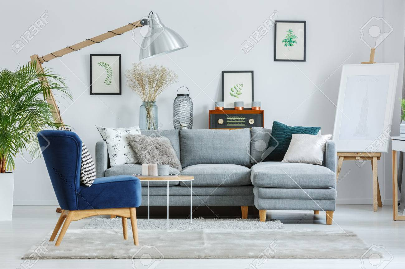Blue Armchair On Grey Carpet In Designer S Living Room With Lamp Stock Photo Picture And Royalty Free Image Image 84587767