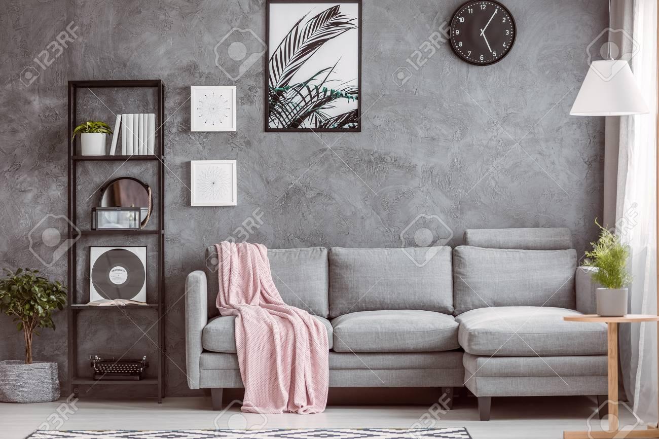 Stylish Living Room With Comfortable Grey Corner Sofa, Small.. Stock ...