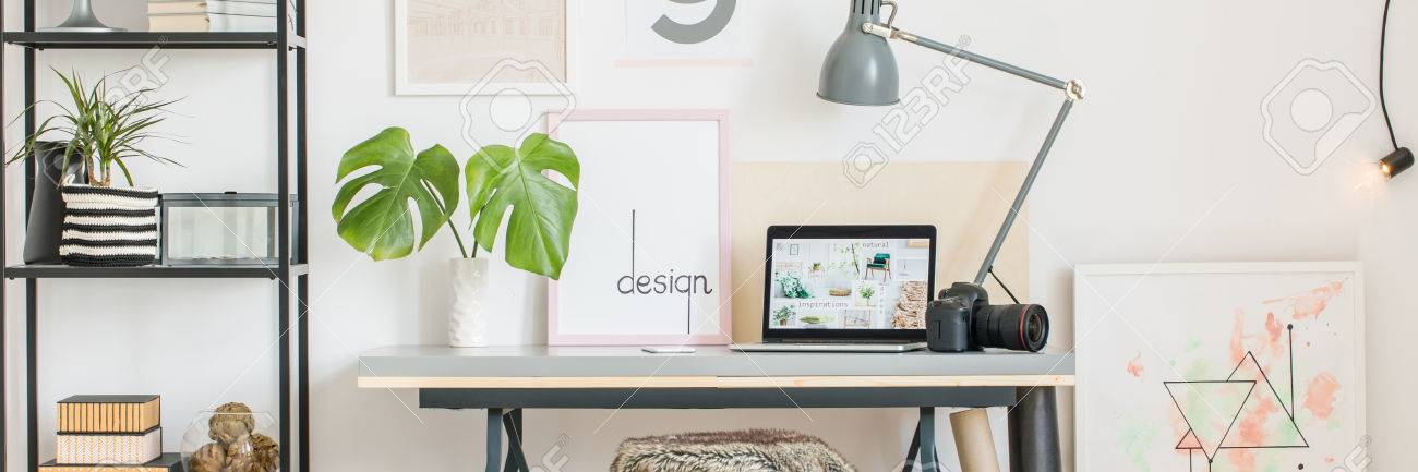 Interior Design Of Creative Home Office In White Scandi Style, Desk,  Laptop, Camera