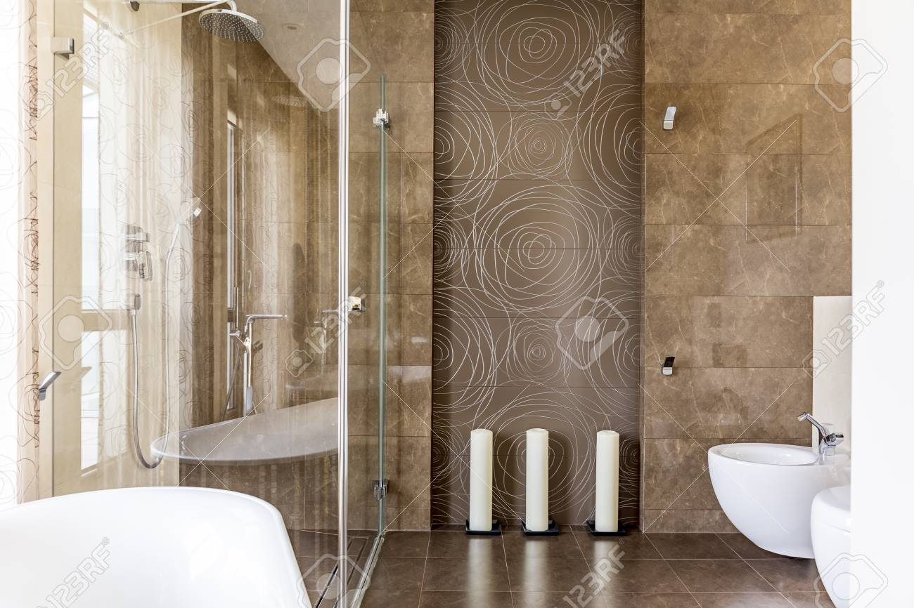 Fancy Bathroom With Brown Decorative Tiles With Abstract Pattern