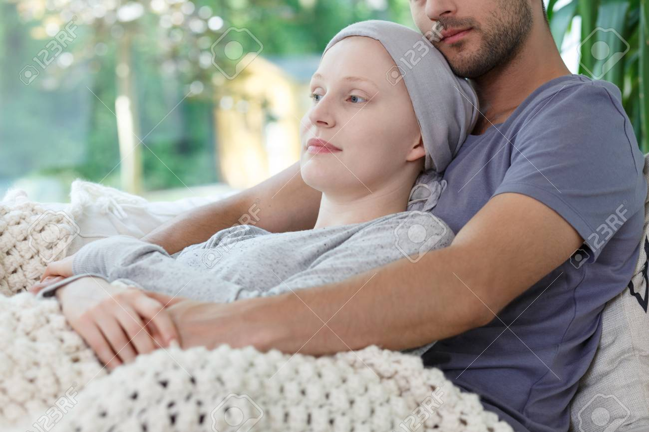 Caring Loving Husband Supporting Ill Wife Feeling Tired After