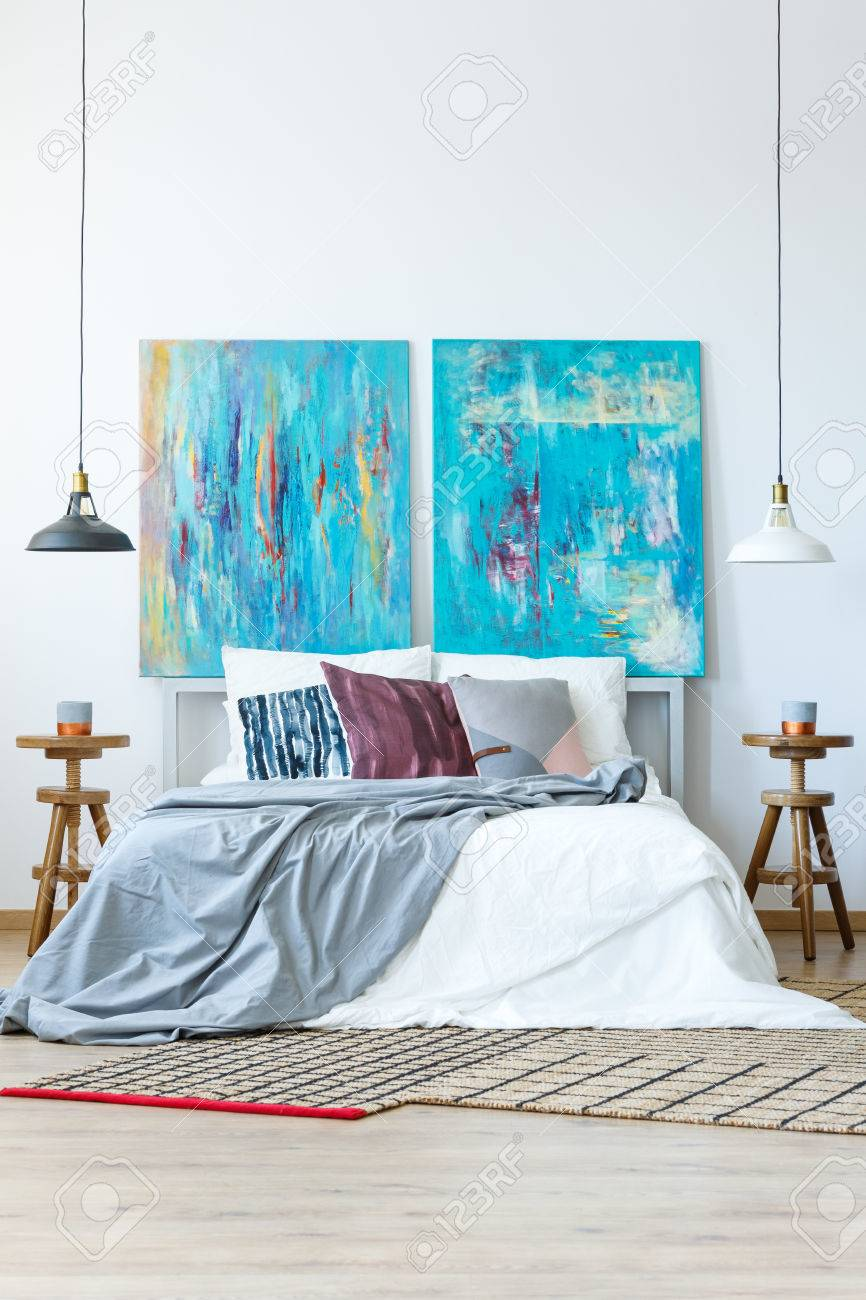 Contemporary Master Bedroom With Blue And Purple Color Scheme Stock Photo Picture And Royalty Free Image Image 84824112