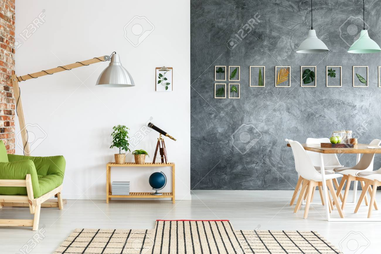 Creative Handmade Decorations In Living Room With Telescope On ...