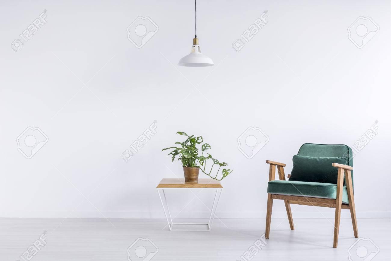 Weiße Lampe über Tisch Mit Pflanze In Kupfer Eimer Und Grün Vintage ...
