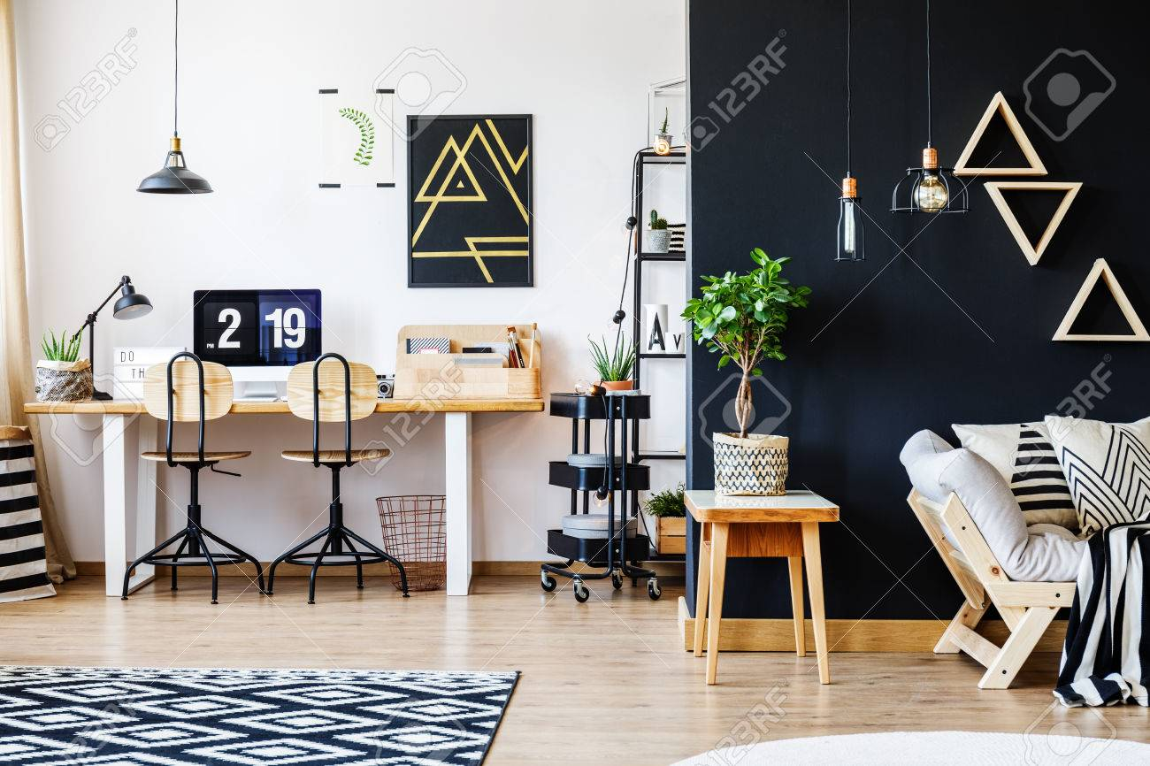 Stylish Black And White Nordic Style Open Space Apartment With  # Muebles Rack Para Living