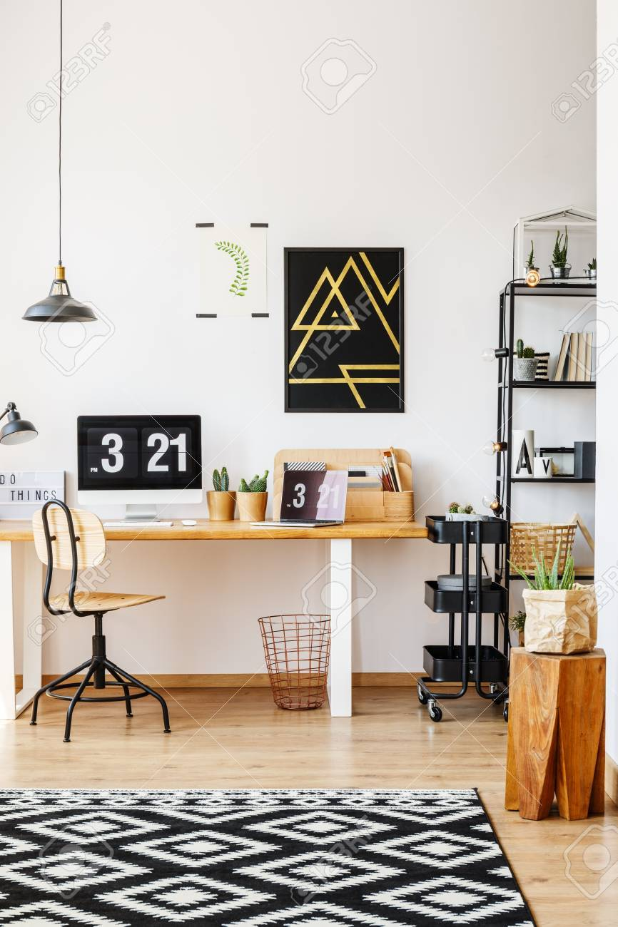 Natural Decor Of Scandinavian Study Desk Workspace With Wooden Furniture,  Retro Chair, Plants,