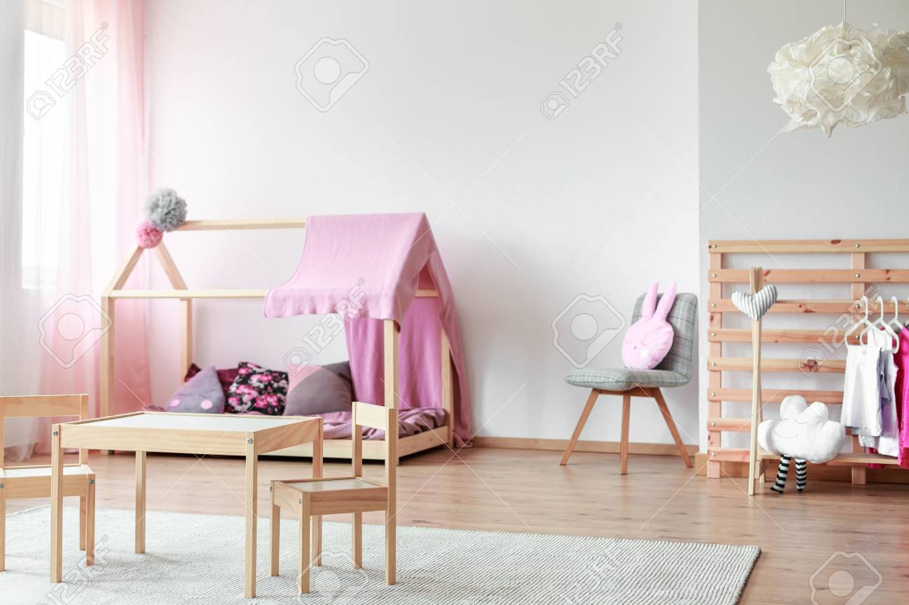 Kids Table And Small Chairs In Scandinavian Style Bedroom With Stock Photo Picture And Royalty Free Image Image 85679584