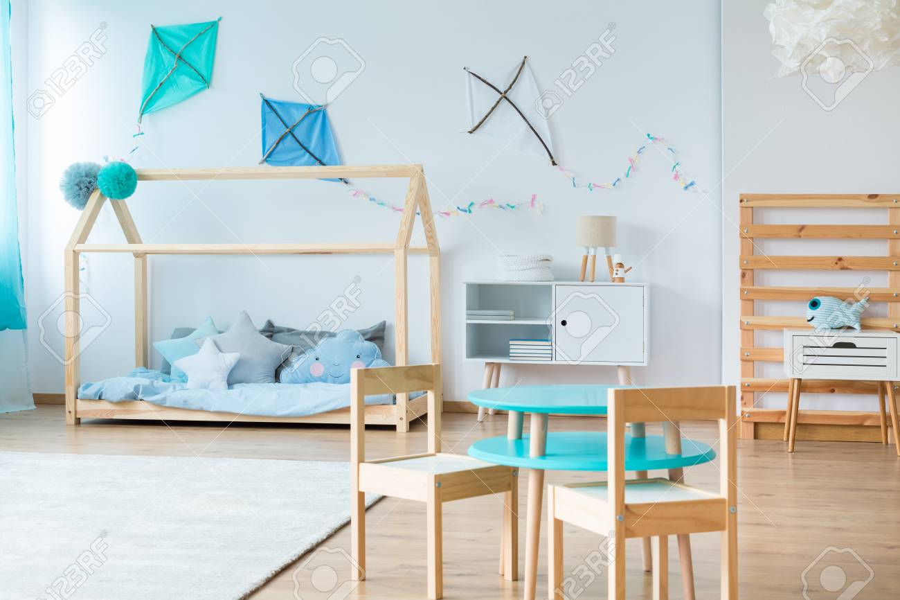 Pleasing Small Table With Wooden Chair In Kids Bedroom With Wooden Bed Creativecarmelina Interior Chair Design Creativecarmelinacom