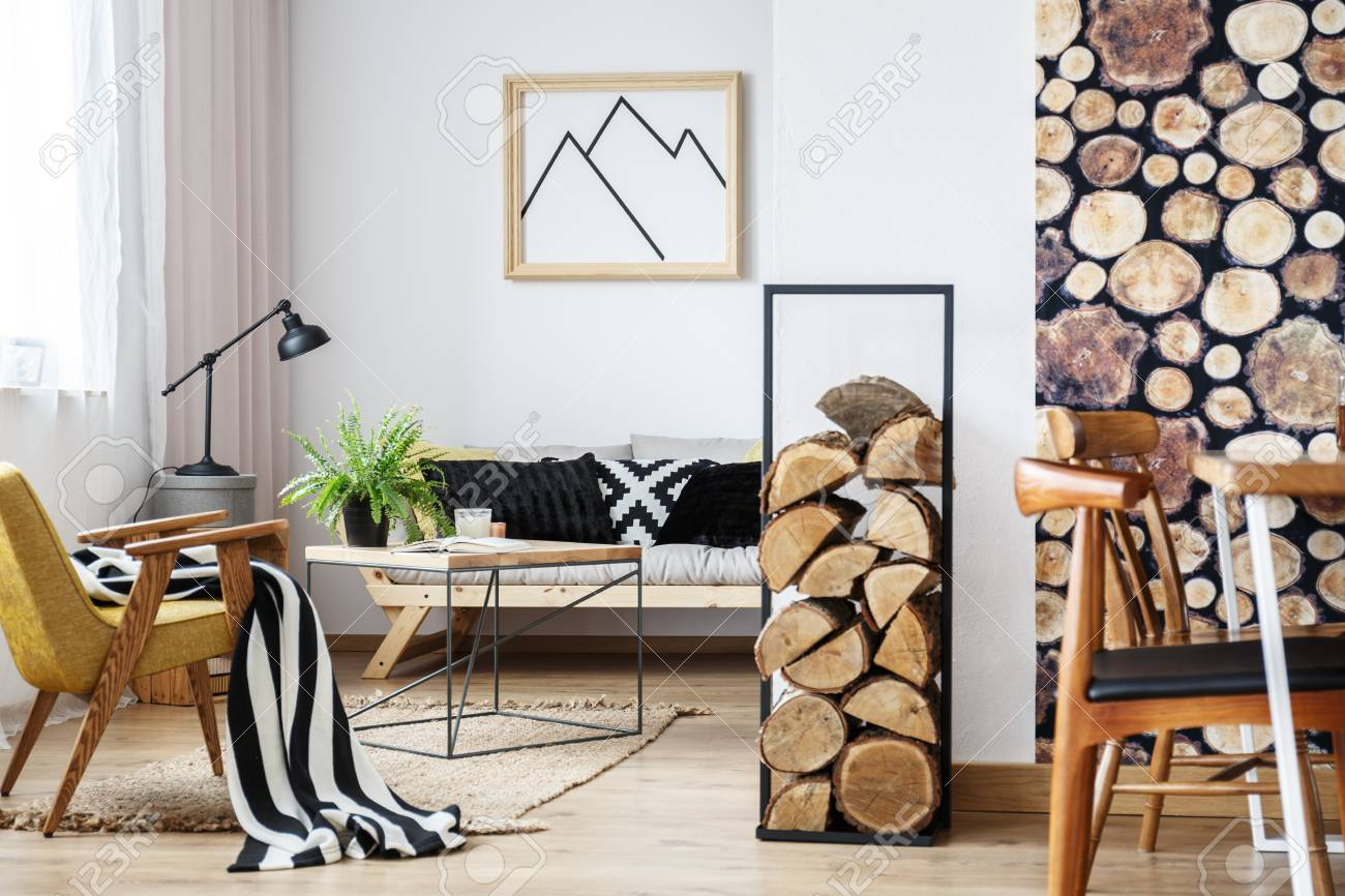 banque dimages design intrieur dhiver confortable pour minimaliste avec des accessoires en bois des couleurs chaudes et des bches de feu