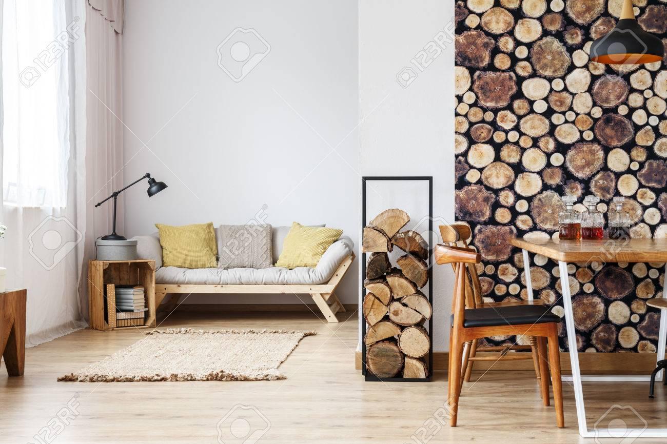 Natural Design In Open Plan Studio With Log Holder, Wood Wallpaper ...