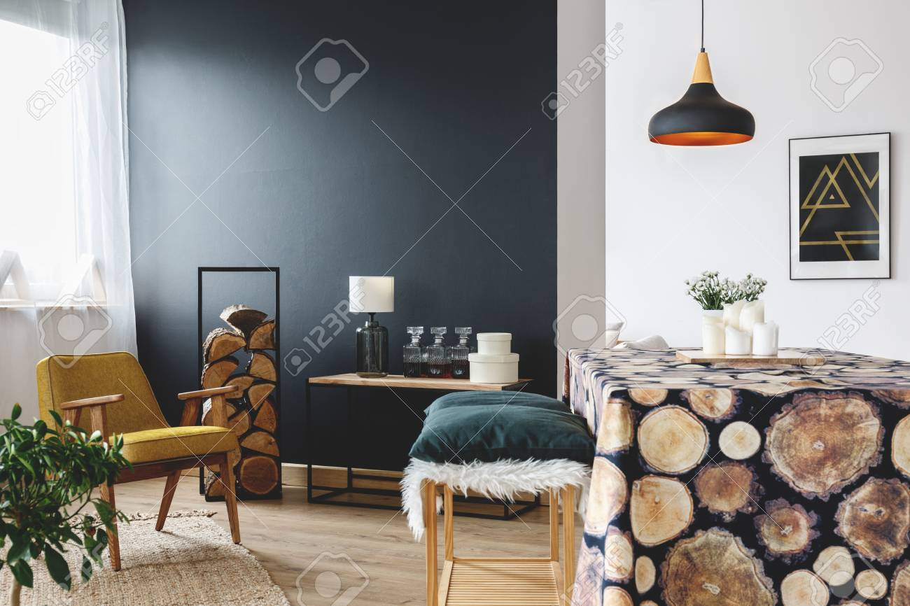 Rustic Home Decoration Idea For Cozy Apartment With Black Wall
