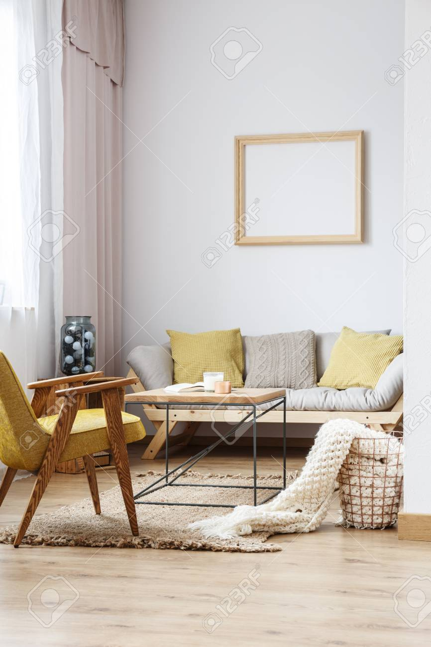 Beige And Yellow Interior Decor Of Modern Bright Living Room Stock Photo Picture And Royalty Free Image Image 85716335