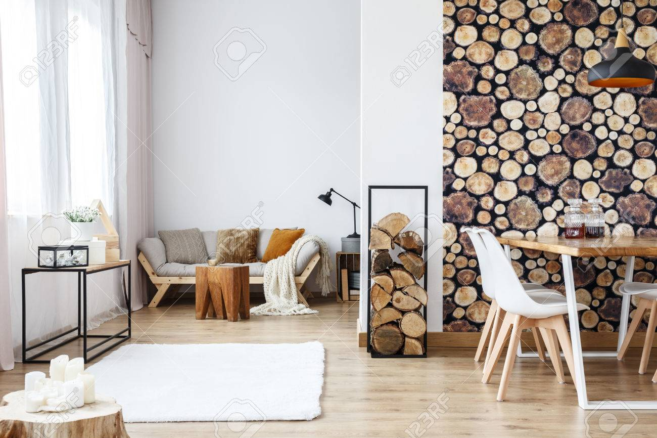 Wooden Log Texture Wallpaper In Cozy Dining Space Of White Open
