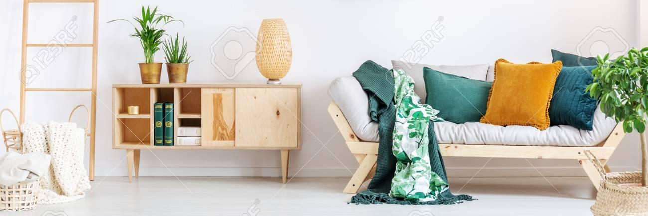 Pflanzen Auf Hölzernen Rustikalen Schrank Im Wohnzimmer Mit Orange ...