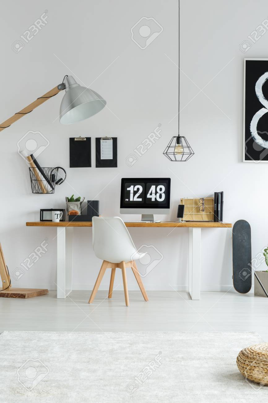 Modern minimalist white office interior with hipster furniture stock photo 89249742