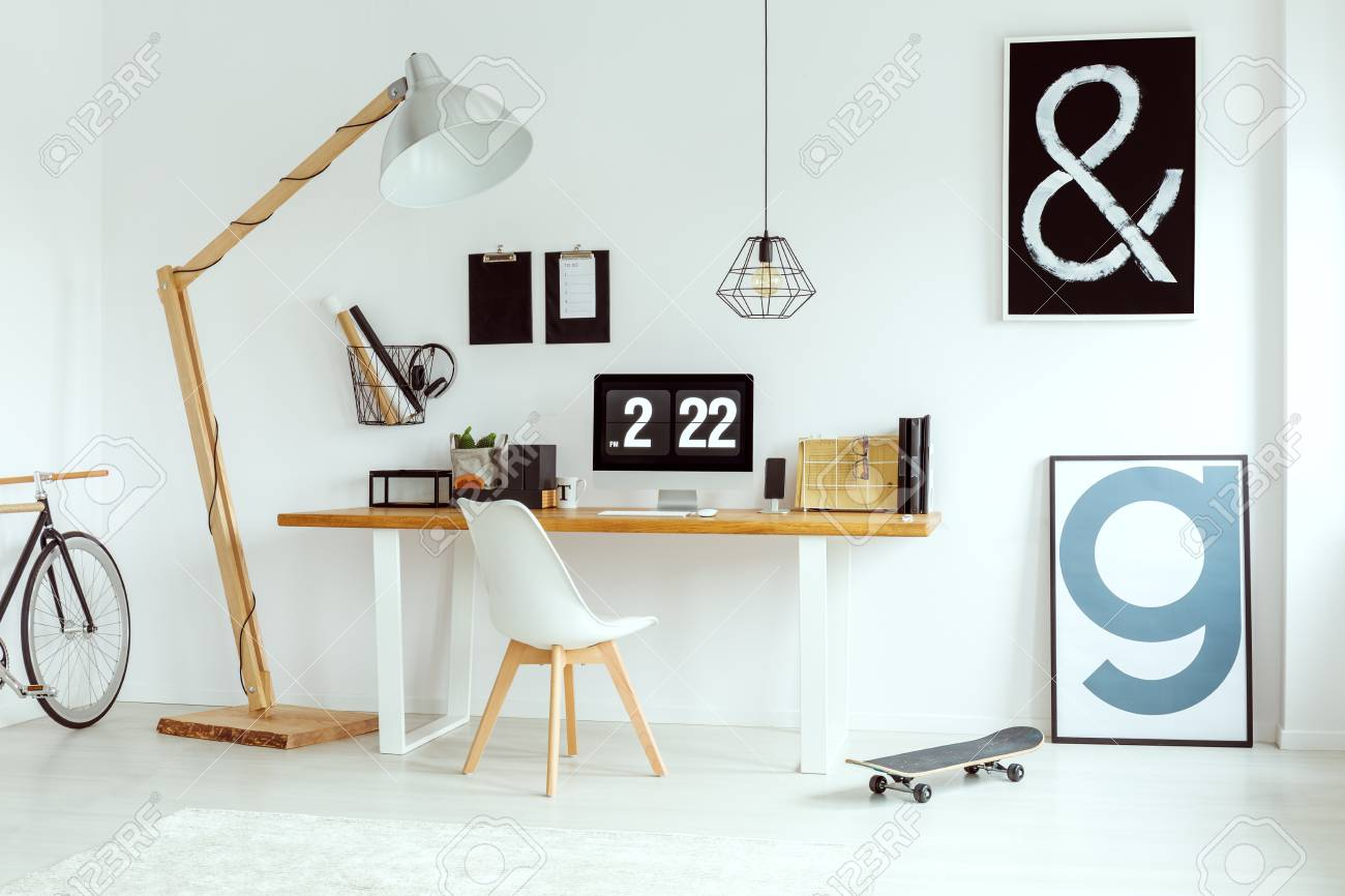Marvelous Scandinavian White Home Office With Desk Lamp Chair And Posters Theyellowbook Wood Chair Design Ideas Theyellowbookinfo