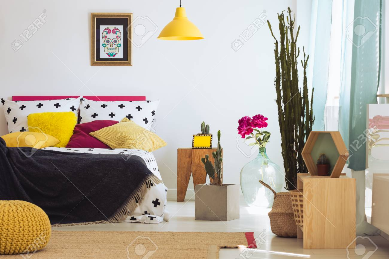 Sugar Skull Painting In Gold Frame And King Size Bed With Colorful Stock Photo Picture And Royalty Free Image Image 87211374