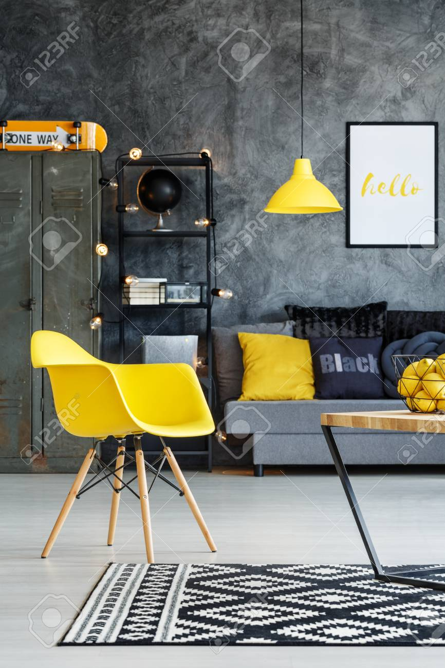 Groovy Yellow Chair In Teenagers Living Room With Grey Sofa And Orange Pdpeps Interior Chair Design Pdpepsorg