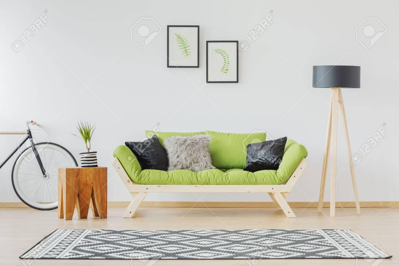 Scandinavian Design Of Contemporary Interior With Green Sofa ...