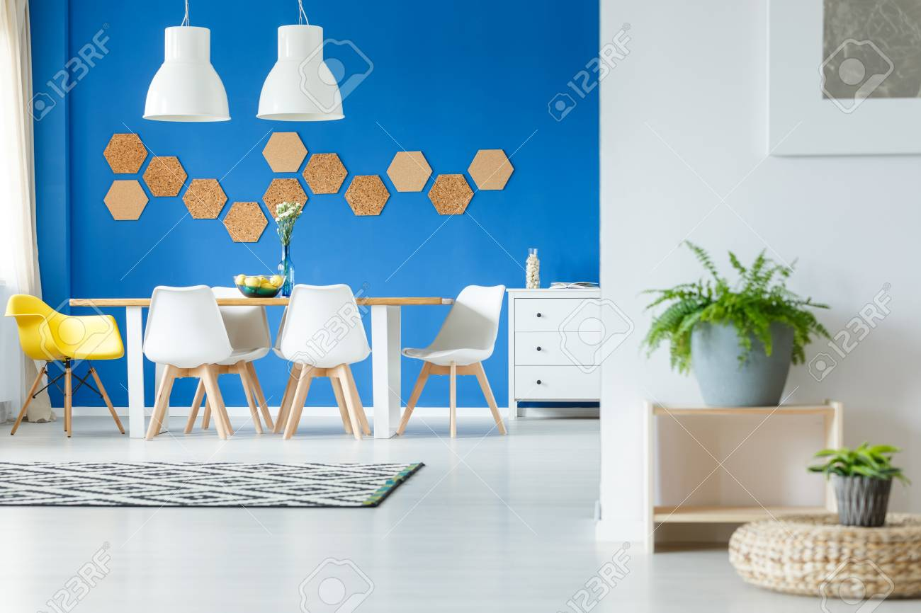 Stock photo yellow chair at long dining table in inspiring dining room with unique natural decoration on blue wall