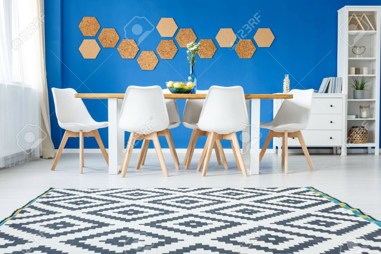 Scandinavian Carpet In Modern Living Room With White Furniture Stock Photo Picture And Royalty Free Image Image 87664290