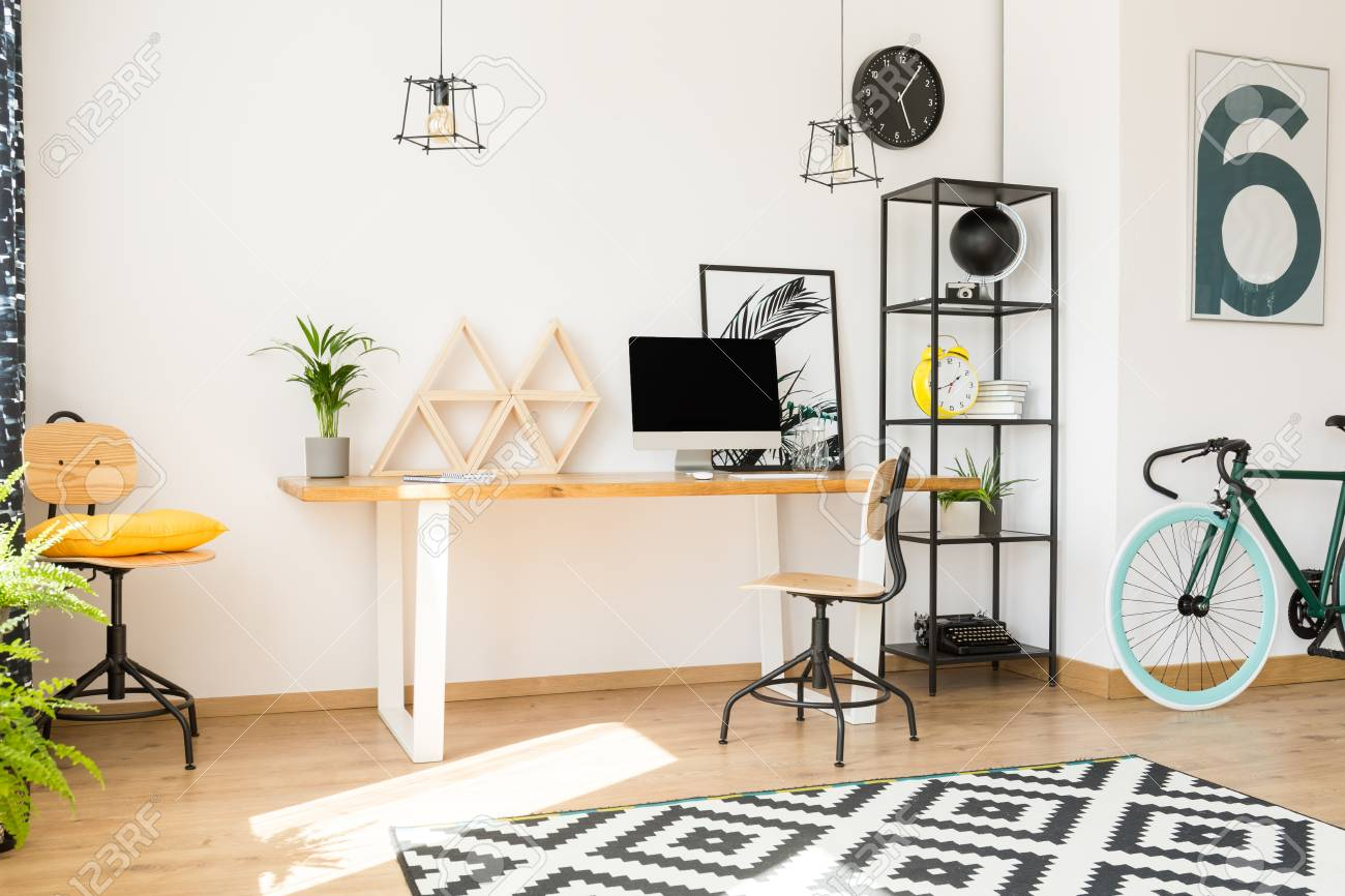 Desktop, Plant And Wooden Decor On Table In Living Room With.. Stock ...