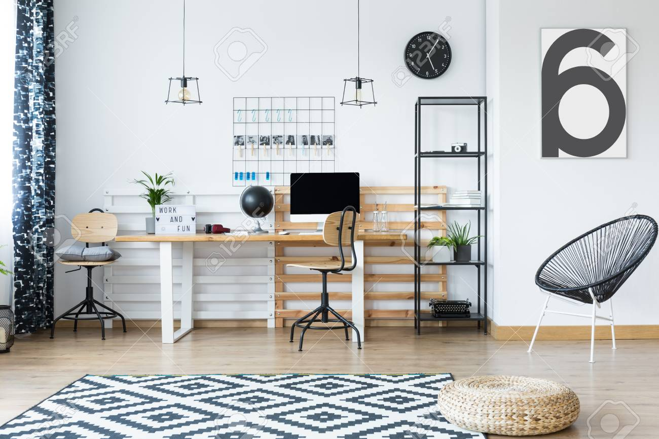 Beau Braided Pouf On Clock And White Carpet In Hygge Style Home Office With  Designed Chair Stock