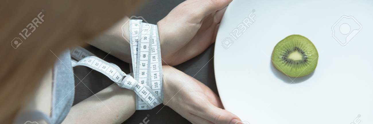 Eating Disorder, Bulimia And Anorexia Concept, Female Hands Tided ...
