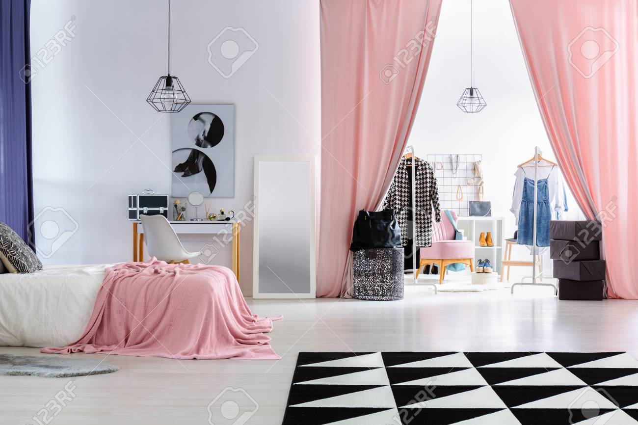 Glamor Woman S Bedroom With Pink Overlay On Bed And Pink Curtains Stock Photo Picture And Royalty Free Image Image 88037258