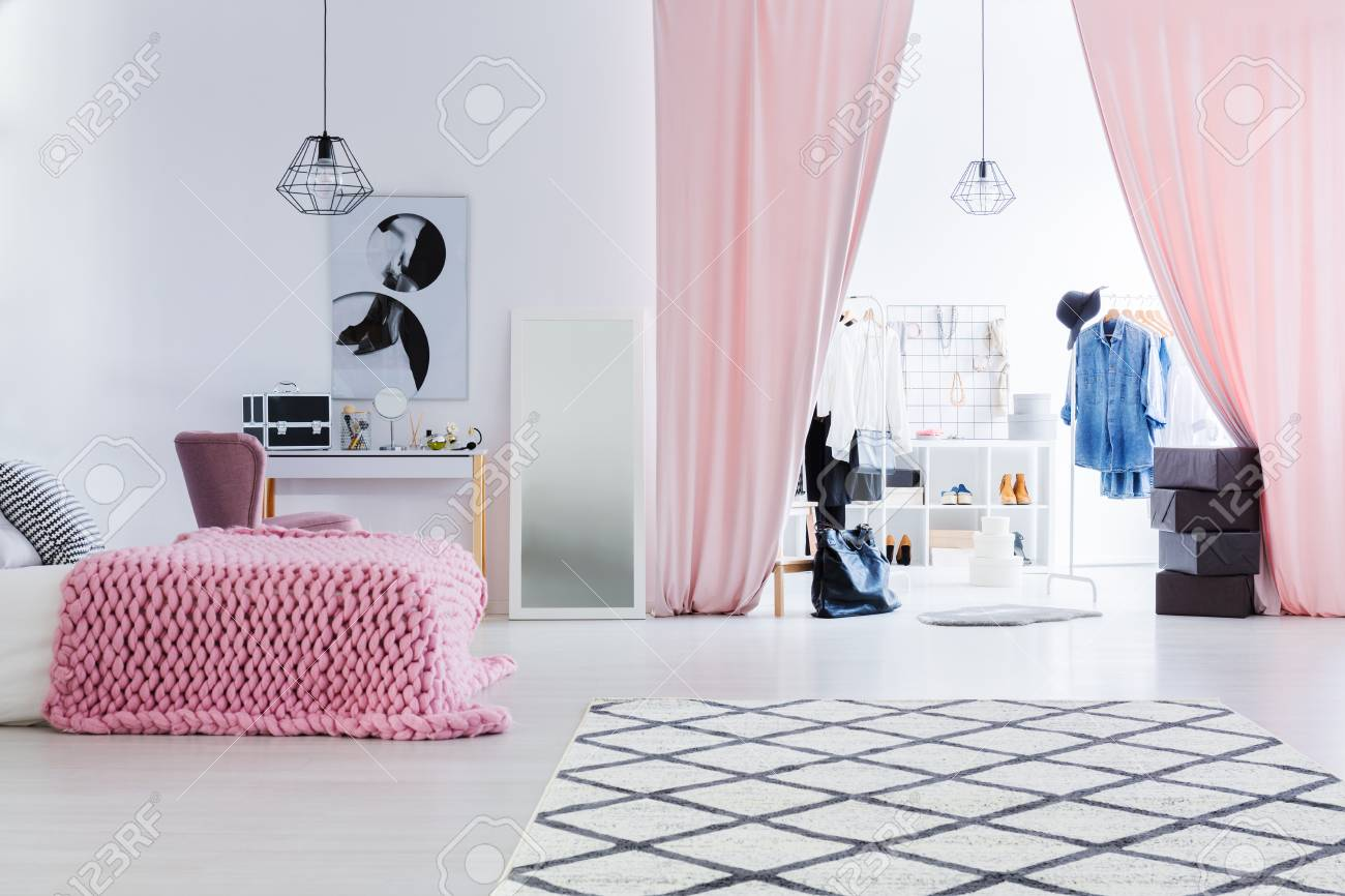 Black And White Poster Above Dressing Table In Womanu0027s Bedroom With Glamor  Walk In Closet